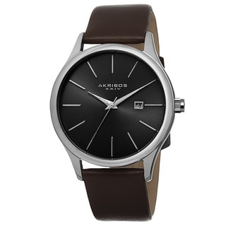 Akribos XXIV Classic Men's Sunray Dial Leather Brown Strap Watch