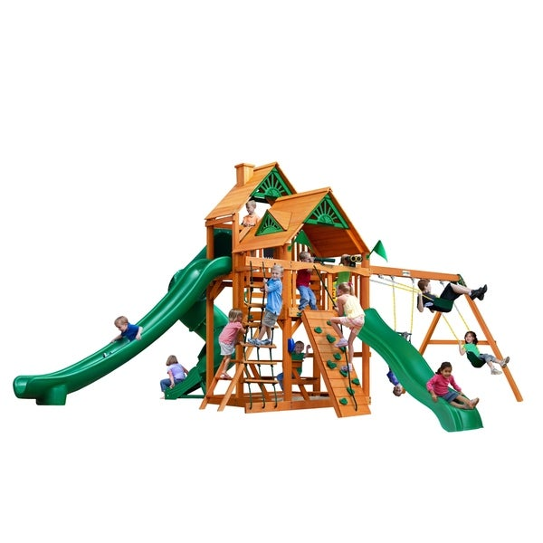 Shop Gorilla Playsets Great Skye Ii Wooden Play Set With 3 Swing Set