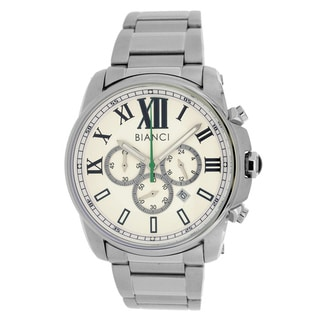 Roberto Bianci Men's All Steel Sports Chronograph Watch with White Dial