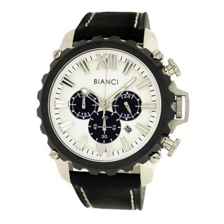 Roberto Bianci Men's Sports Chronograph Watch with White Dial and Black Leather Band