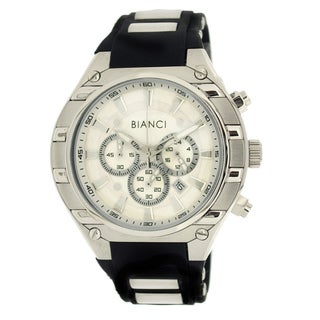 Roberto Bianci Men's Sports Chronograph Watch with Silvertone Dial and Rubber Band