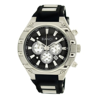 Roberto Bianci Men's Sports Chronograph Watch with Black Dial and Rubber Band