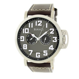 Roberto Bianci Men's Sports Day and Date Watch with Grey Dial and Leather Band