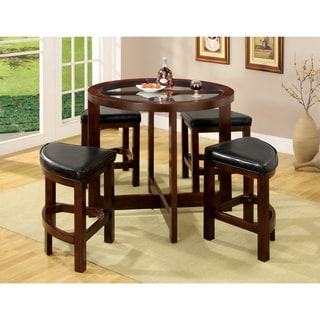Furniture of America Dark Walnut 5-piece Counter Height Pub Set