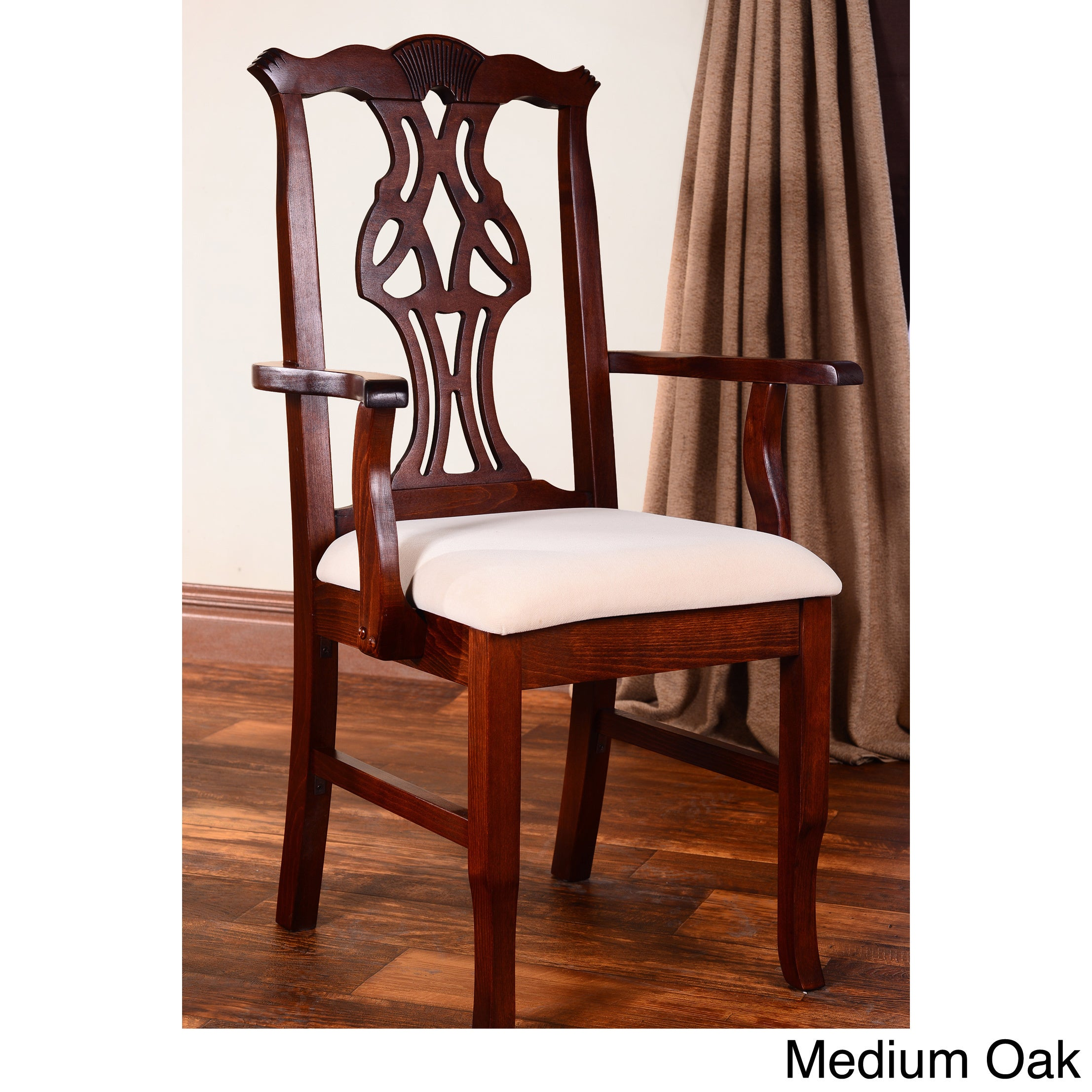 Chippendale Dining Arm Chair (Oak - Oak Finish), Brown (M...