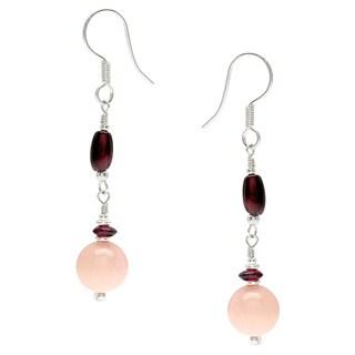 Jade and Garnet Gemstone Dangle Earrings