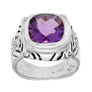 Sterling Silver Cushion-cut Checkerboard Amethyst Ring