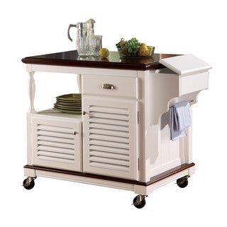 Coaster Company Cherry Topped White Kitchen Cart