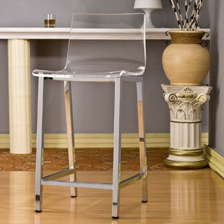 pure decor clear acrylic counter stool set of 2 - Clear Bar Stools