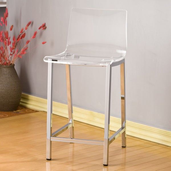Acrylic Counter Height Stools Part - 46: Pure Decor Clear Acrylic Counter Stool - Set Of 2 - Free Shipping Today -  Overstock.com - 16169806