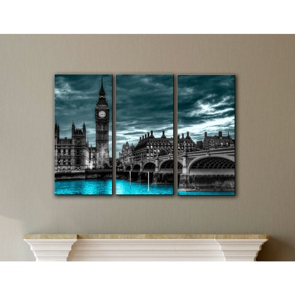 ArtWall Revolver Ocelot 'London' 3-piece Gallery-wrapped Canvas