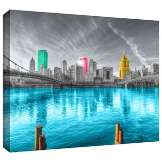 ArtWall Revolver Ocelot 'Pittsburgh' Gallery-Wrapped Canvas