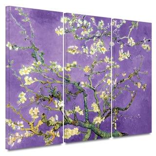 Art Wall Vincent van Gogh '3-Piece Almond Blossom-Interpretation in Iris Violet' gallery wrapped canvas