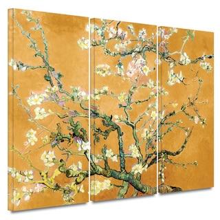 Art Wall Vincent van Gogh '3-Piece Almond Blossom-Interpretation in Marigold Orange' gallery wrapped