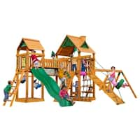 Gorilla Playsets Pioneer Peak Natural Cedar Swing Set with Natural Cedar Posts