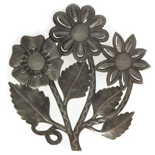 Handcrafted Recycled Steel Oil Drum Flower Bouquet Wall Art (Haiti)