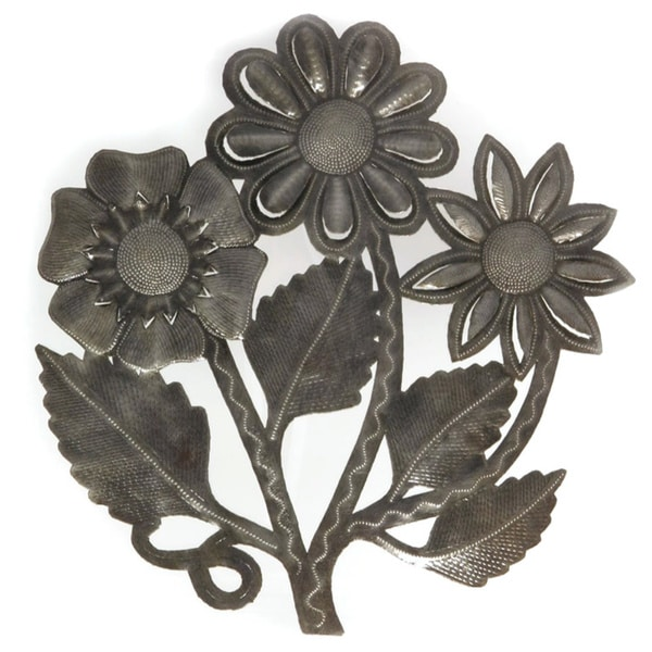 Handmade Recycled Steel Oil Drum Flower Bouquet Wall Art (Haiti ...