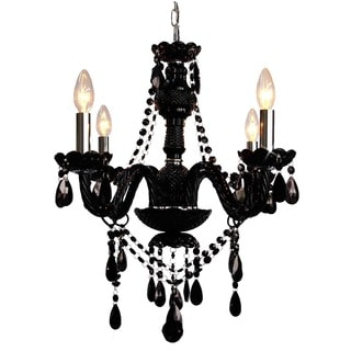 Gallery Jet Black 4-light Crystal Chandelier