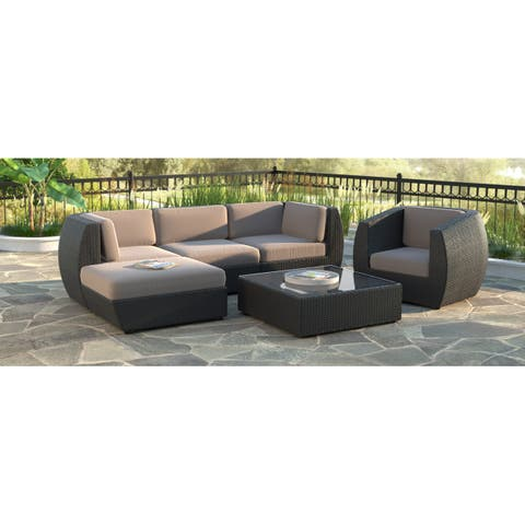 CorLiving Seattle Curved 6-piece Sofa with Chaise Lounge and Chair Patio Set