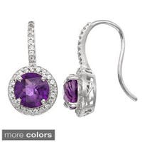 Gioelli Sterling Silver Gemstone and Created White Sapphire Accent Earrings