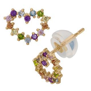 Junior Jewels 14k Yellow Gold Multi-color Cubic Zirconia Heart Earrings