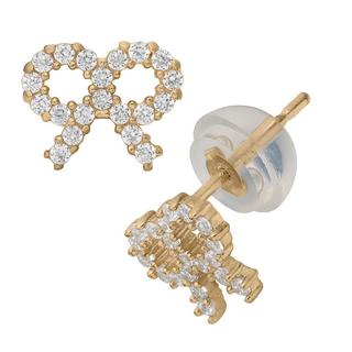 Junior Jewels 14k Yellow Gold Cubic Zirconia Bow Stud Earrings