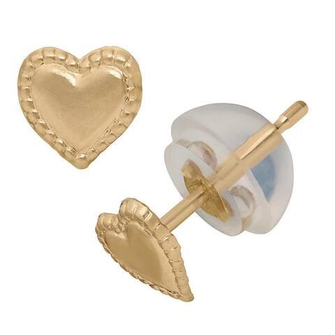 Junior Jewels 14k Yellow Gold Small Rope Border Heart Earrings