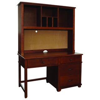 Woodridge Pedestal Desk and Hutch Set