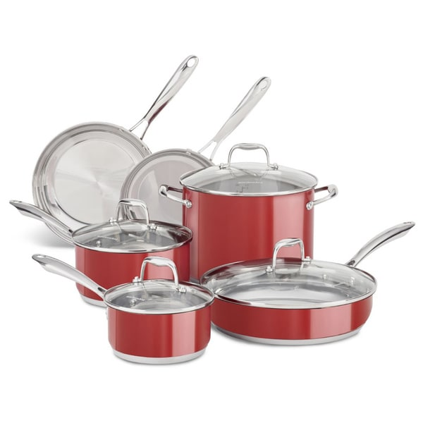 kitchenaid stainless steel empire red 10 piece cookware set free shipping today overstock. Black Bedroom Furniture Sets. Home Design Ideas
