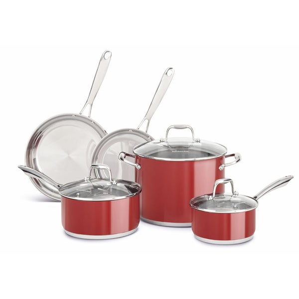 kitchenaid 4 1 2 quot red stainless steel shop kitchenaid stainless steel empire red 8 piece cookware set overstock 8960268 2095