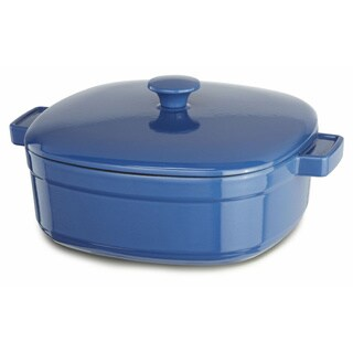 KitchenAid Streamline Spring Blue Cast Iron 6-quart Casserole