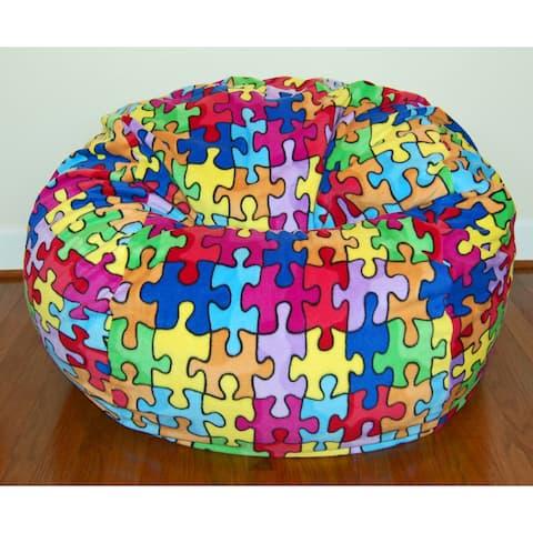 Wide Anti-pill Puzzle Fleece Bean Bag Chair
