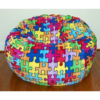 Wide Anti-pill Puzzle Fleece Bean Bag Chair