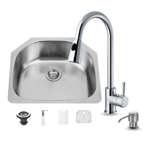 24 Inch Stainless Steel Farmhouse Sink : ... in One 24-inch Undermount Stainless Steel Kitchen Sink and Faucet Set
