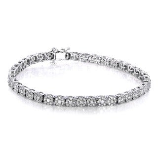 Annello by Kobelli 10k White Gold 3ct TDW Round Diamond Tennis Bracelet (H-I, I2-I3)