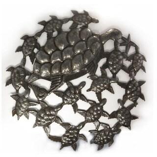 Handmade Recycled Steel Oil Drum School of Turtles Wall Art (Haiti)