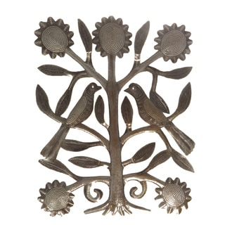 Handcrafted Recycled Steel Oil Drum Tree with Love Birds Wall Art (Haiti)