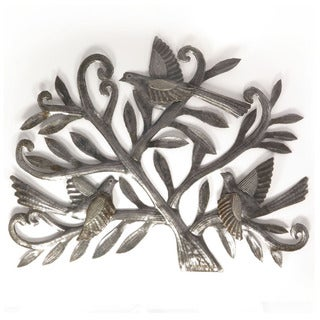Handcrafted Recycled Steel Oil Drum Birds on Tree Wall Art (Haiti)