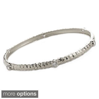 Sonia Bitton Yellow, Rose and Platinum Plated Sterling Silver Hammered Bangle