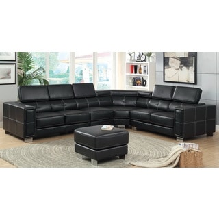 Furniture of America Garzion Pneumatic Gas Lift Headrest Black Bonded Leather Match Sectional with Ottoman