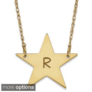 10k or 14k Yellow Goldplated Initial Star Necklace