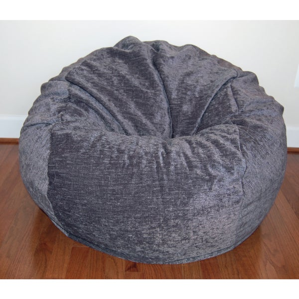Shop Grey Chenille Washable 36-inch Bean Bag Chair ...