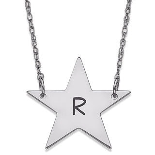 Sterling Silver Initial Star Necklace