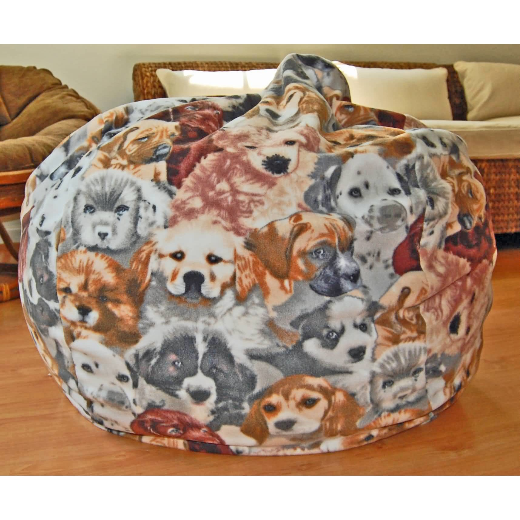 Ahh Products Puppies Anti-pill Fleece Washable Bean Bag C...
