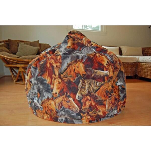 Horses Anti Pill Fleece Washable Bean Bag Chair