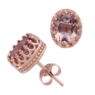 Gioelli Rose Goldplated Silver Oval-cut Simulated Morganite Tiara Earrings