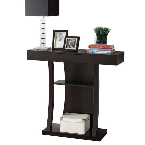 coaster company cappuccino t shaped 2 shelf console table. Black Bedroom Furniture Sets. Home Design Ideas