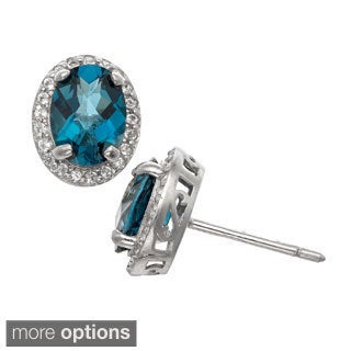 Gioelli Sterling Silver Oval Gemstone and Created White Sapphire Stud Earrings