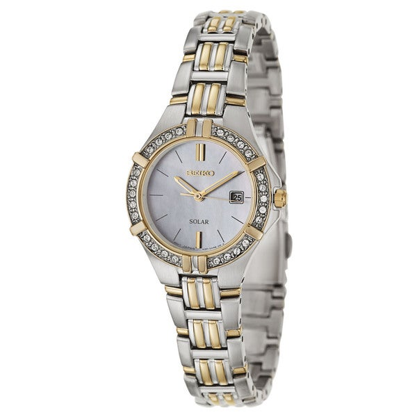 Seiko Women's 'Solar' Two-tone Stainless Steel Crystal Watch