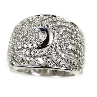 Sonia Bitton Sterling Silver Pave Peacock Feather Ring